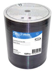 Falcon Media 8x DVD-R Shiny Silver Thermal Printable - 100 Discs