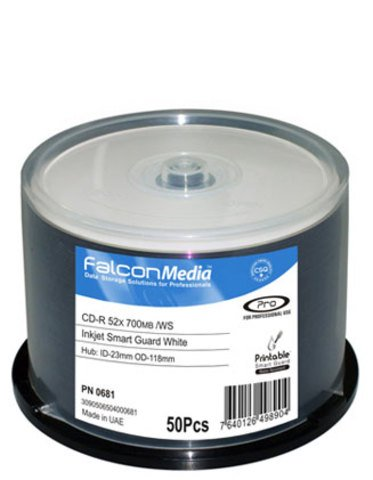 Falcon Media 52x CD-R Water Resistant White Inkjet Printable - 50 Discs