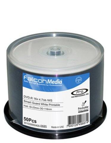 Falcon Media 16x DVD-R Water Resistant White Inkjet Printable - 50 Discs