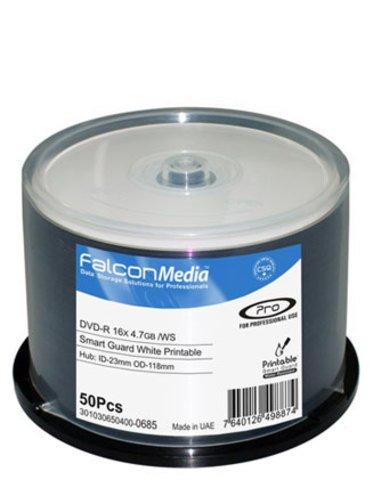 Falcon Media 16x DVD-R Water Resistant White Inkjet Printable - 50 Discs