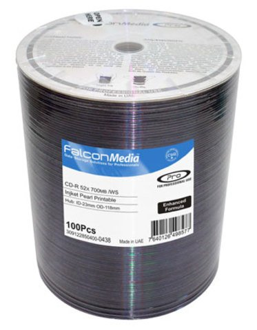 Falcon Media 52x CD-R Silver Inkjet Printable - 100 Discs