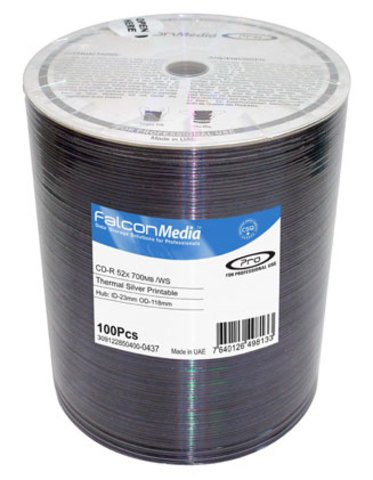 Falcon Media 52x CD-R Silver Thermal Everest Printable - 100 Discs