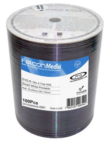 16x DVD-R Smart White Inkjet Printable - 100 Discs