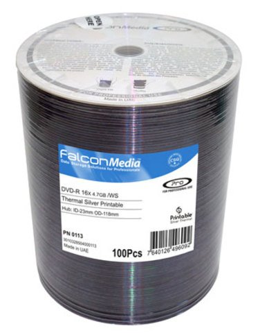 Falcon Media 16x DVD-R Silver Thermal Everest Printable - 100 Discs