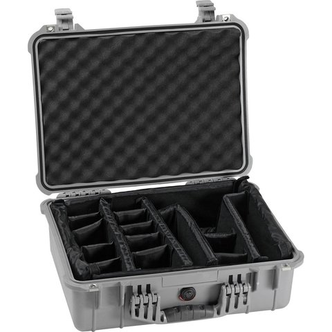 Pelican 1504 Case (1500 Case with Padded Dividers) - Silver