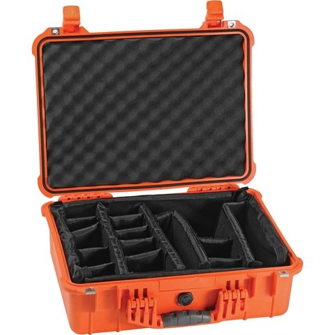 Pelican 1504 Case (1500 Case with Padded Dividers) - Orange