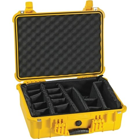 Pelican 1504 Case (1500 Case with Padded Dividers) - Yellow