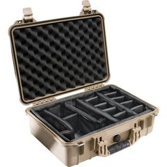 Pelican 1504 Case (1500 Case with Padded Dividers) - Desert Tan