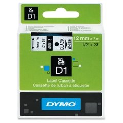"DYMO D1 1/2"" Tape Label - 23 ft. Roll - Black on White"