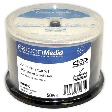 photograph about Ink Jet Printable Dvd named Falcon Media 16x DVD-R Silver Inkjet Printable - 50 Discs