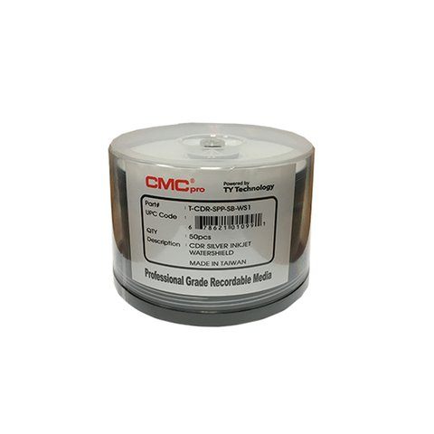 CMC Pro 52x CD-R WaterShield Silver Inkjet Printable - 50 Discs