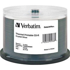 Verbatim 52x CD-R DataLifePlus Crystal Silver Thermal Printable CD-R