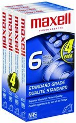 Maxell STD T-120 VHS Tape, 4-Pack