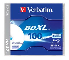 Verbatim BD-R XL 100GB 4X White Inkjet Hub Printable - 1pk Jewel Case
