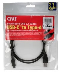 QVS 3.3 ft. USB-C  to USB-A SuperSpeed 10Gbps 3Amp Sync & Power Cable