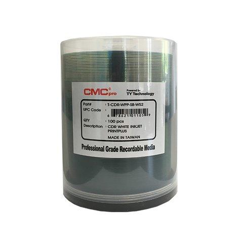 CMC Pro 48x CD-R PrintPlus! Water Resistant White Inkjet Printable, 100 Discs