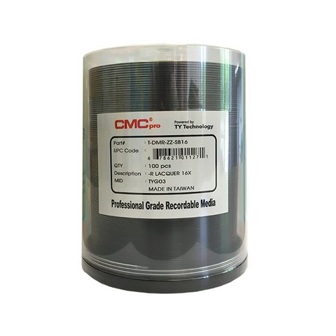 CMC Pro 16x DVD-R Shiny Silver Thermal Printable - 100 Discs