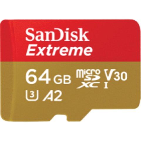 SanDisk Extreme, microSDXC, Memory Card, 64GB, UHS-I, 4K, Class 10, w/ Adapter