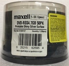 ​Maxell DVD-RSS Shiny Silver Thermal Printable, Spindle of 50