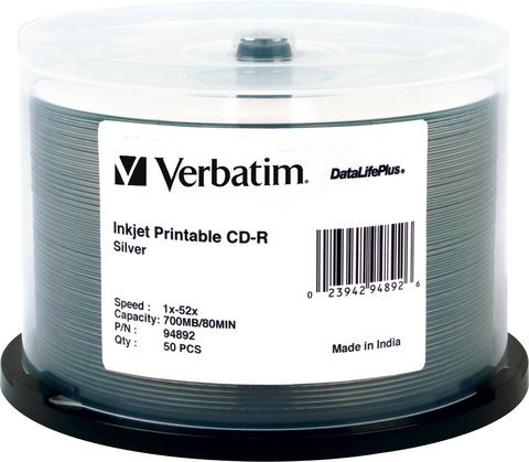 52x CD-R Silver Inkjet Printable - 50 Discs
