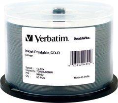 Verbatim 52x CD-R Silver Inkjet Printable - 50 Discs