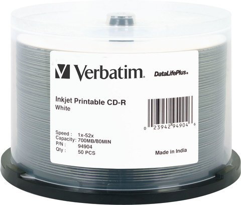 52x CD-R White Inkjet Printable - 50 Discs