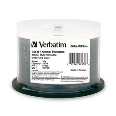 Verbatim 16X BD-R Printable Disc Media White Thermal Printable - 50 Discs