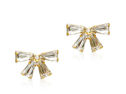 BETTIE GENE BOW STUD EARRINGS - CRYSTAL