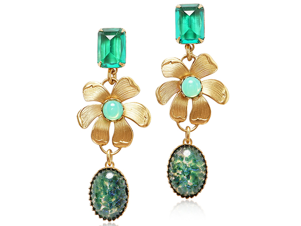 MAXINE STATEMENT EARRINGS - GREEN