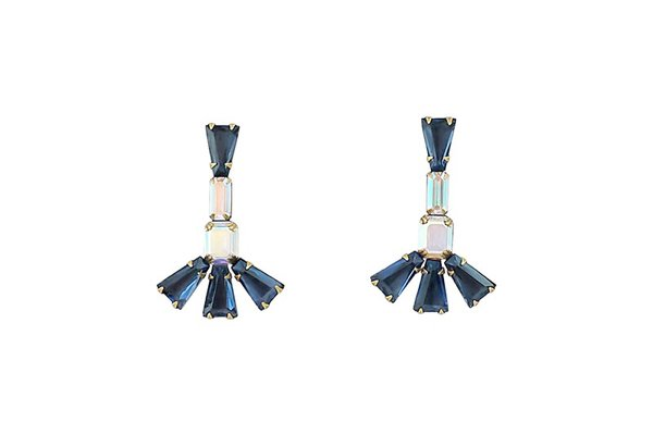 LYNDSEY STATEMENT EARRINGS IN NAVY