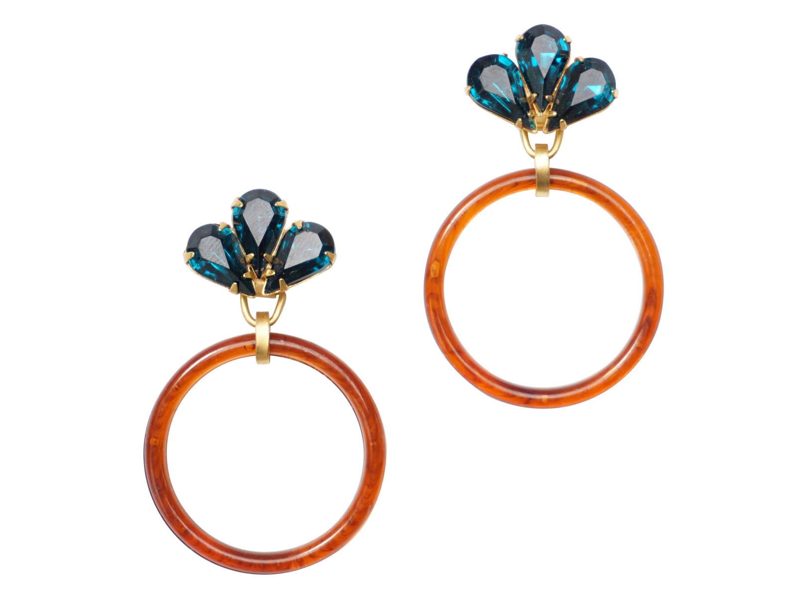 PAIGE TORTOISE HOOP EARRINGS - TEAL