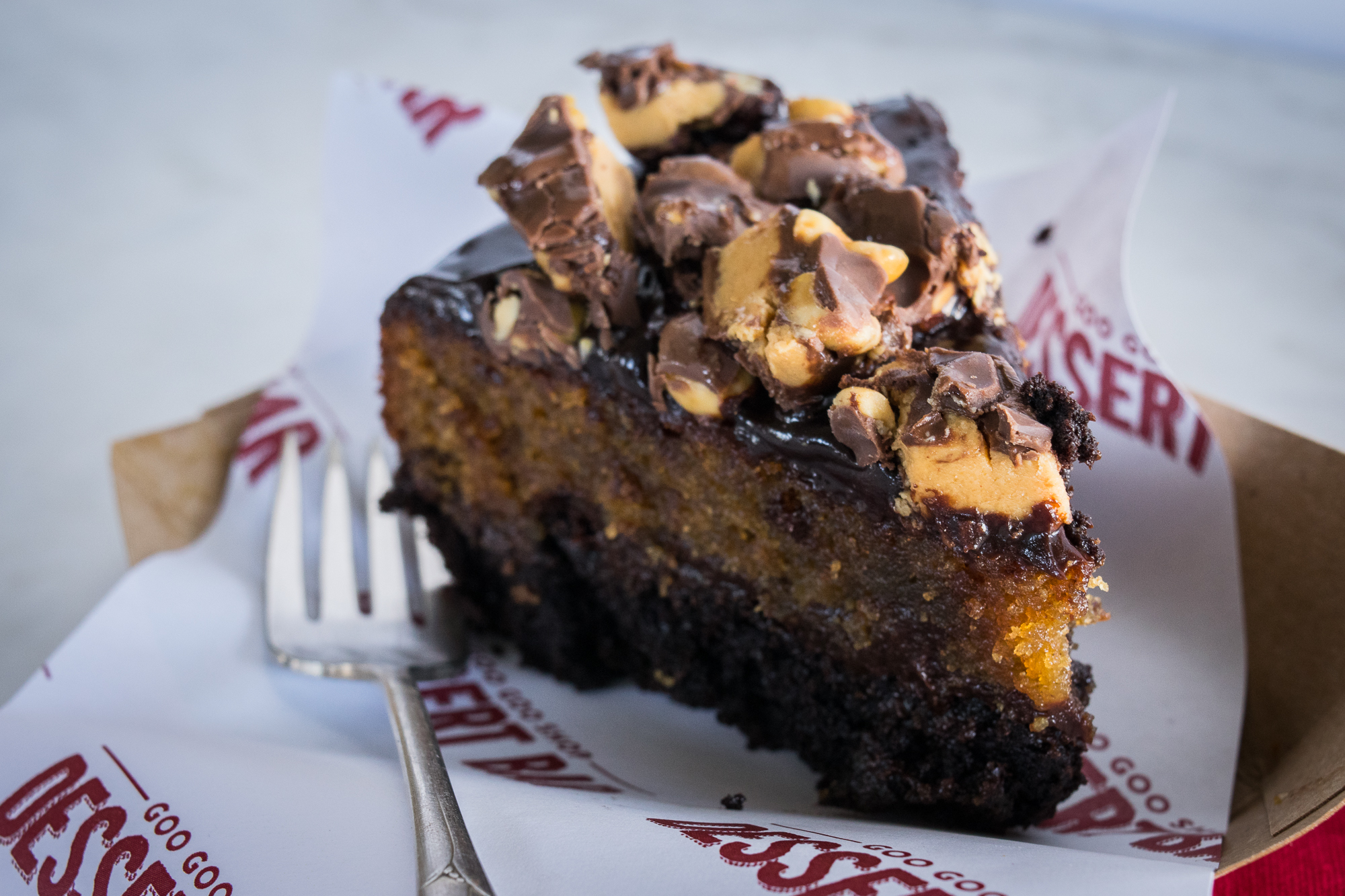 Peanut Butter Goo Goo Chocolate PB Cake Image