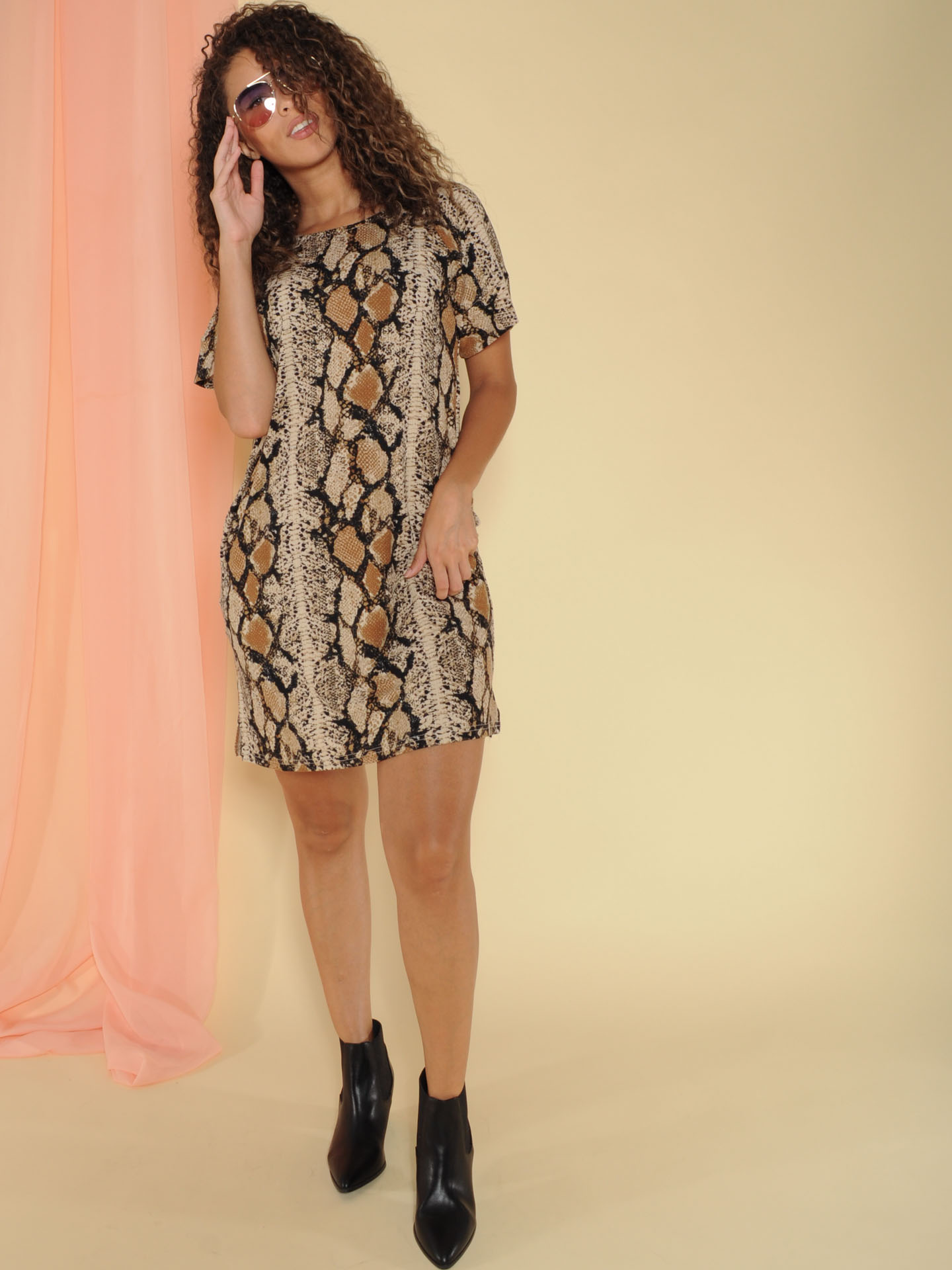 Viper Dress Pocketed Snake Print Tee Dress Front