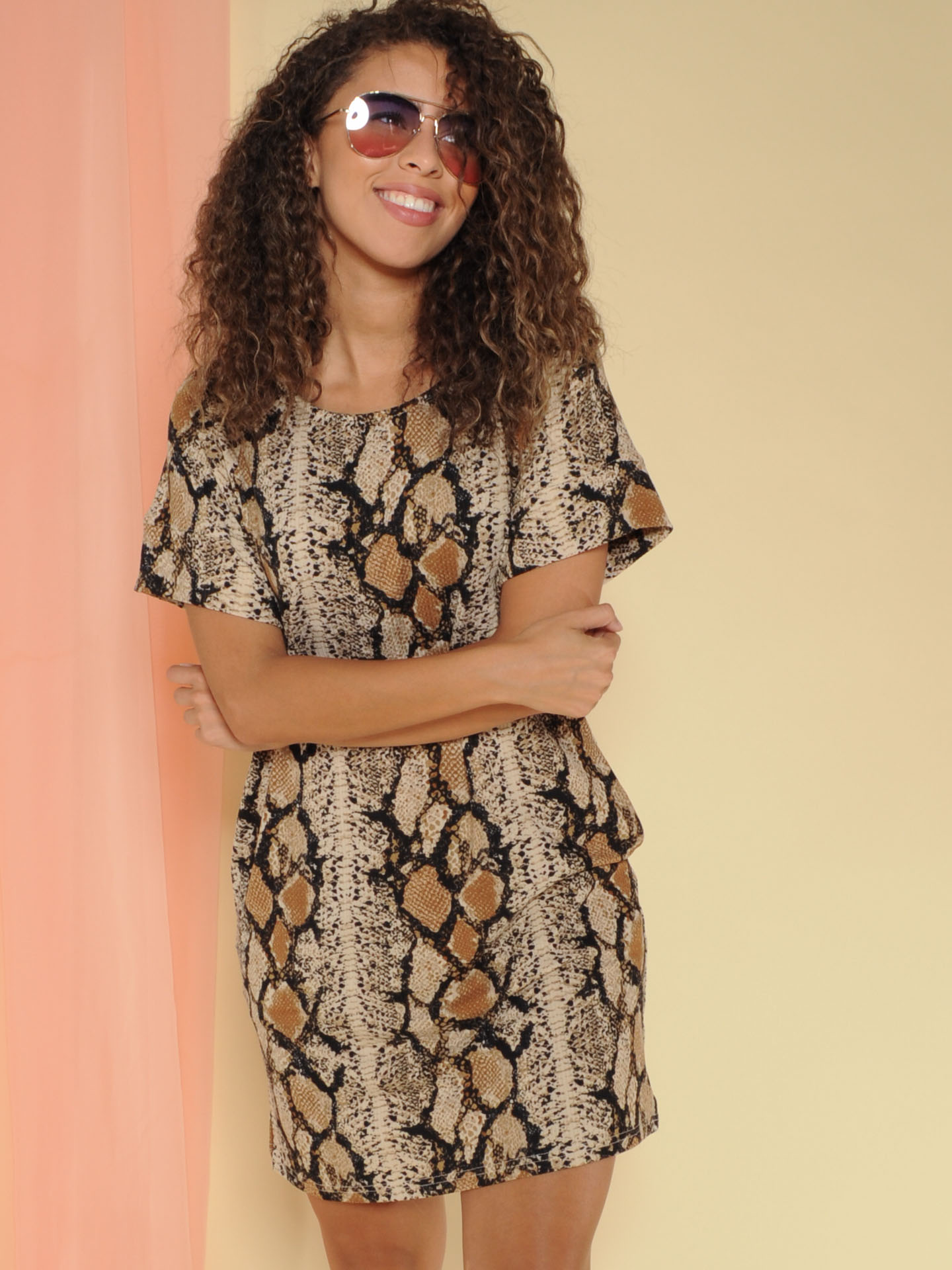 Viper Dress Pocketed Snake Print Tee Dress