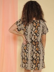 Viper Dress Pocketed Snake Print Tee Dress Back
