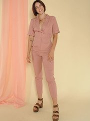 Sally Jumpsuit Belted Skinny Classy Pink One Piece Front 2
