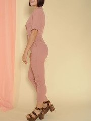 Sally Jumpsuit Belted Skinny Classy Pink One Piece Side