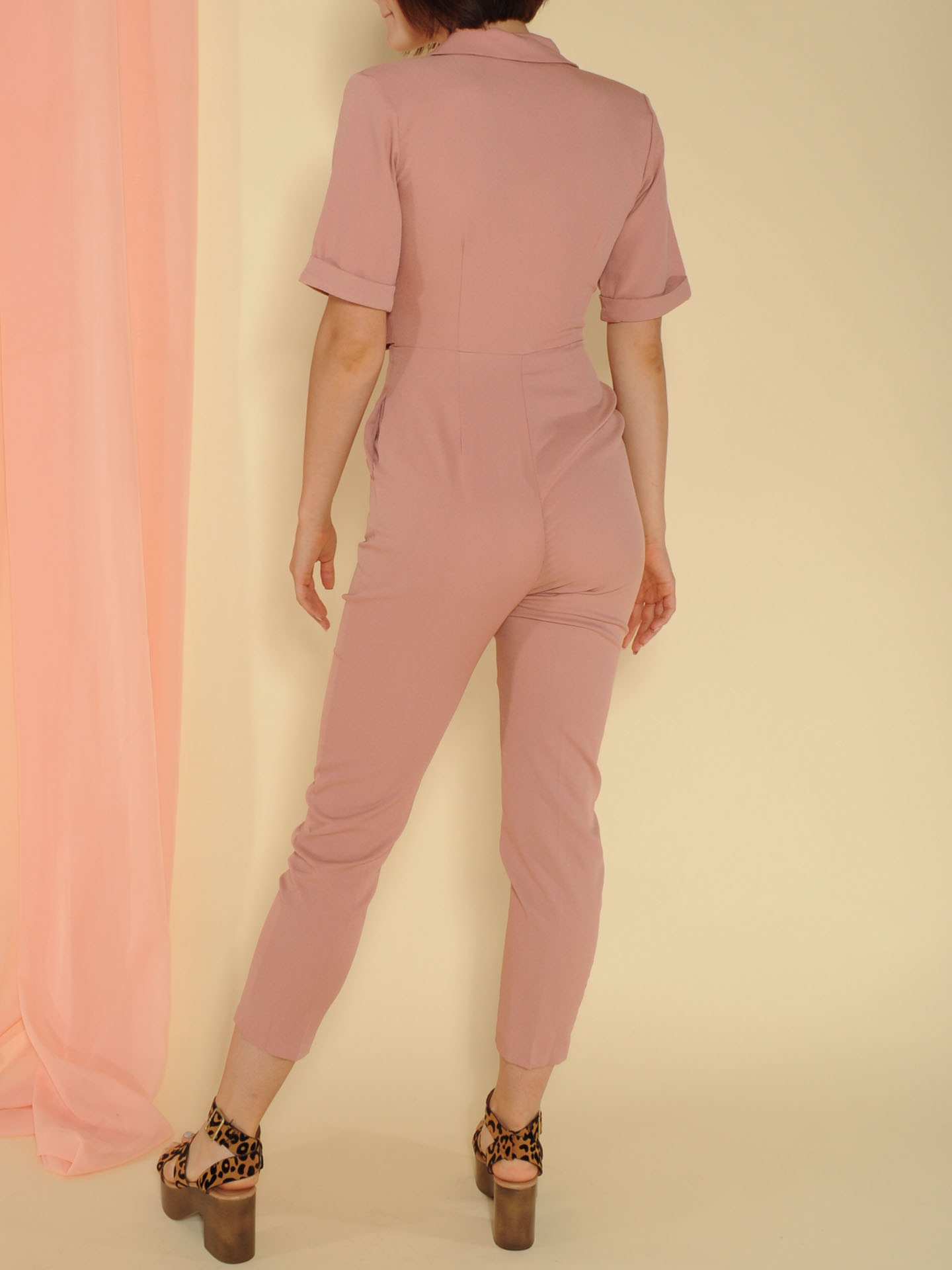 Sally Jumpsuit Belted Skinny Classy Pink One Piece Back