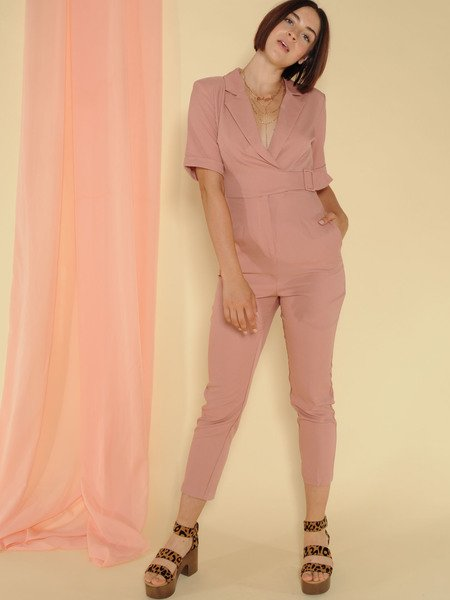 Sally Jumpsuit Belted Skinny Classy Pink One Piece Front