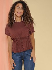 Clintonville Top Scrunched Waist Burgundy Basic Front