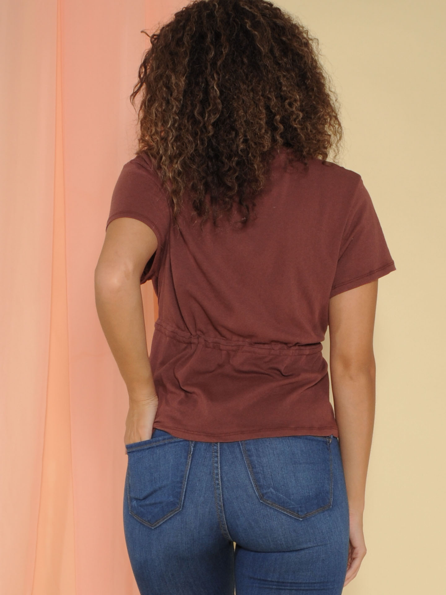 Clintonville Top Scrunched Waist Burgundy Basic Back