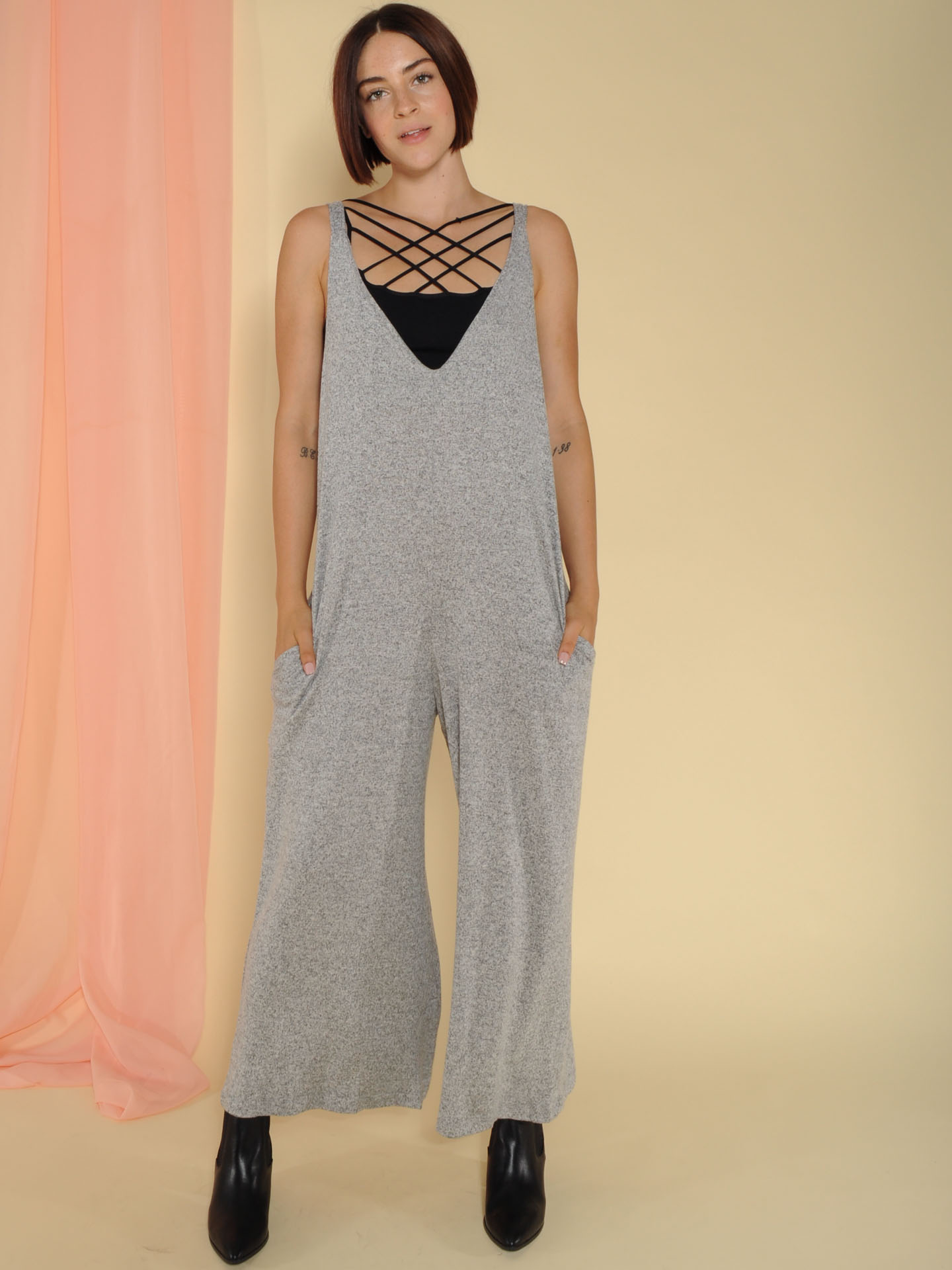 Lorraine Jumper V Neck Comfy Tank One Piece Front