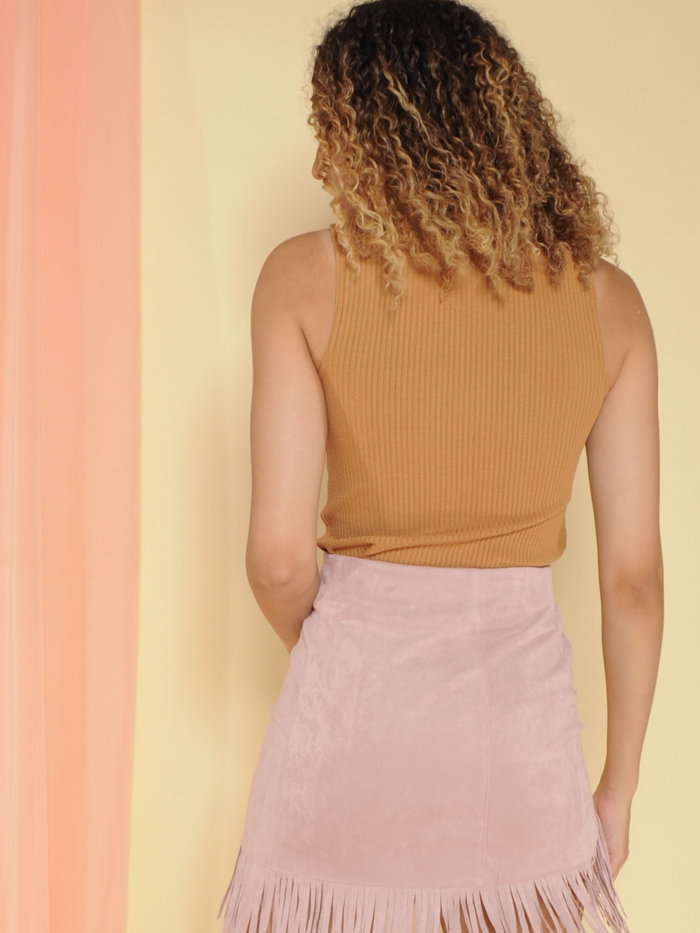 Terry Top Ribbed Turtleneck Brown Back