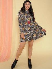 Kaylea Dress Floral Long Sleeve Turtleneck Front 2