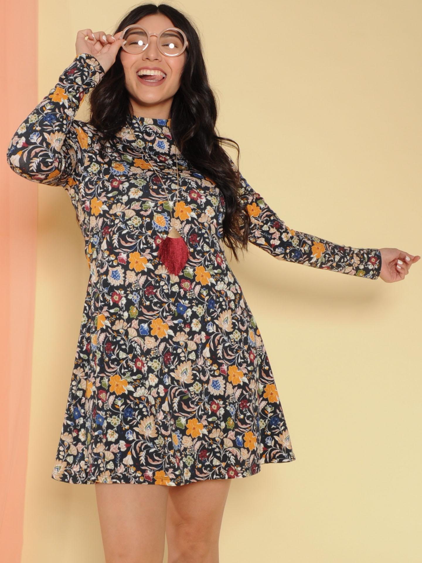 Kaylea Dress Floral Long Sleeve Turtleneck Front