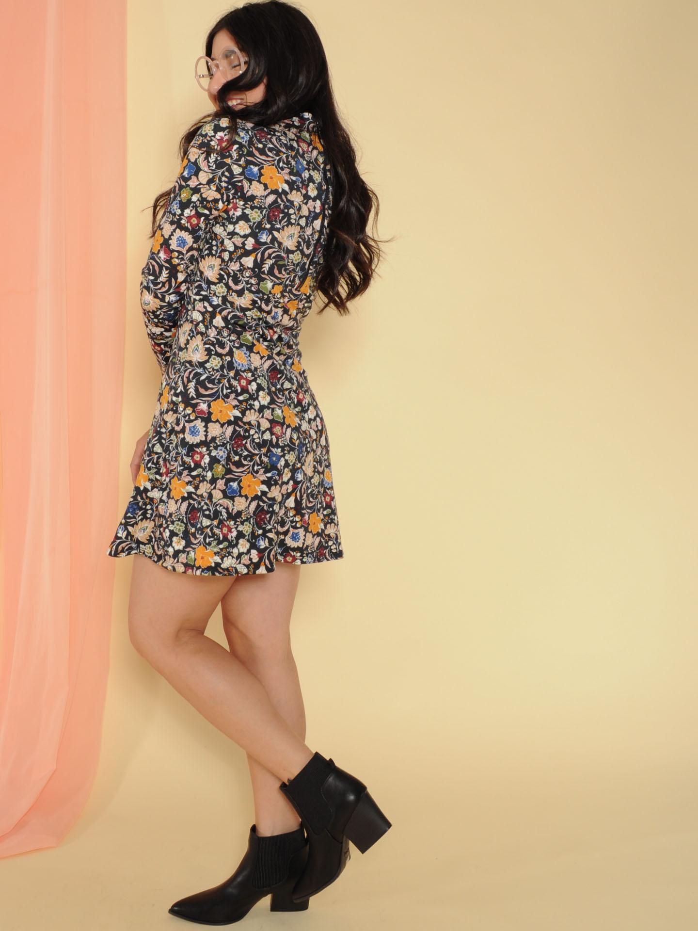 Kaylea Dress Floral Long Sleeve Turtleneck Side