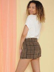 Pauline Skirt Plaid Mini Slit Leg Skort Back