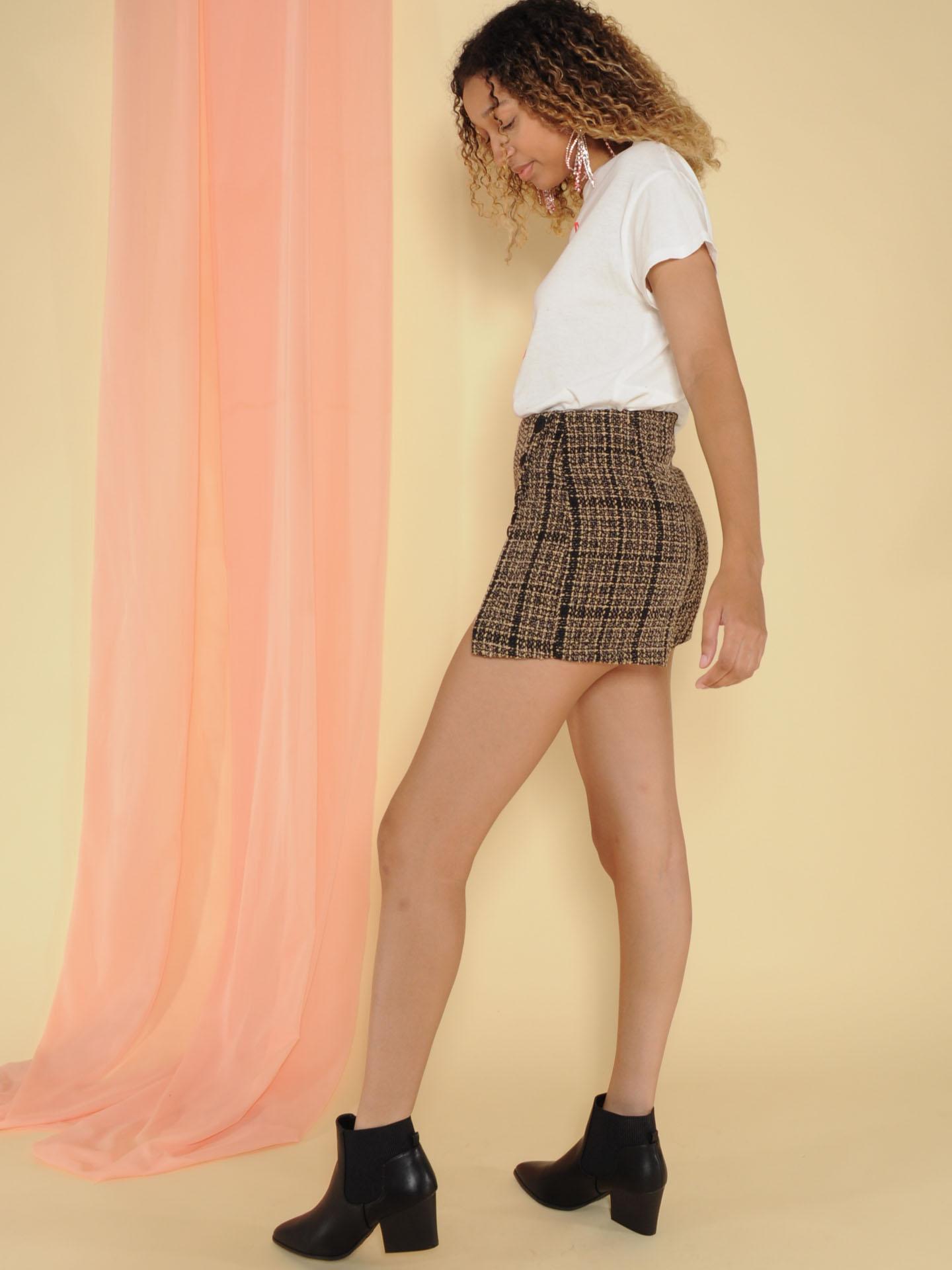 Pauline Skirt Plaid Mini Slit Leg Skort Side
