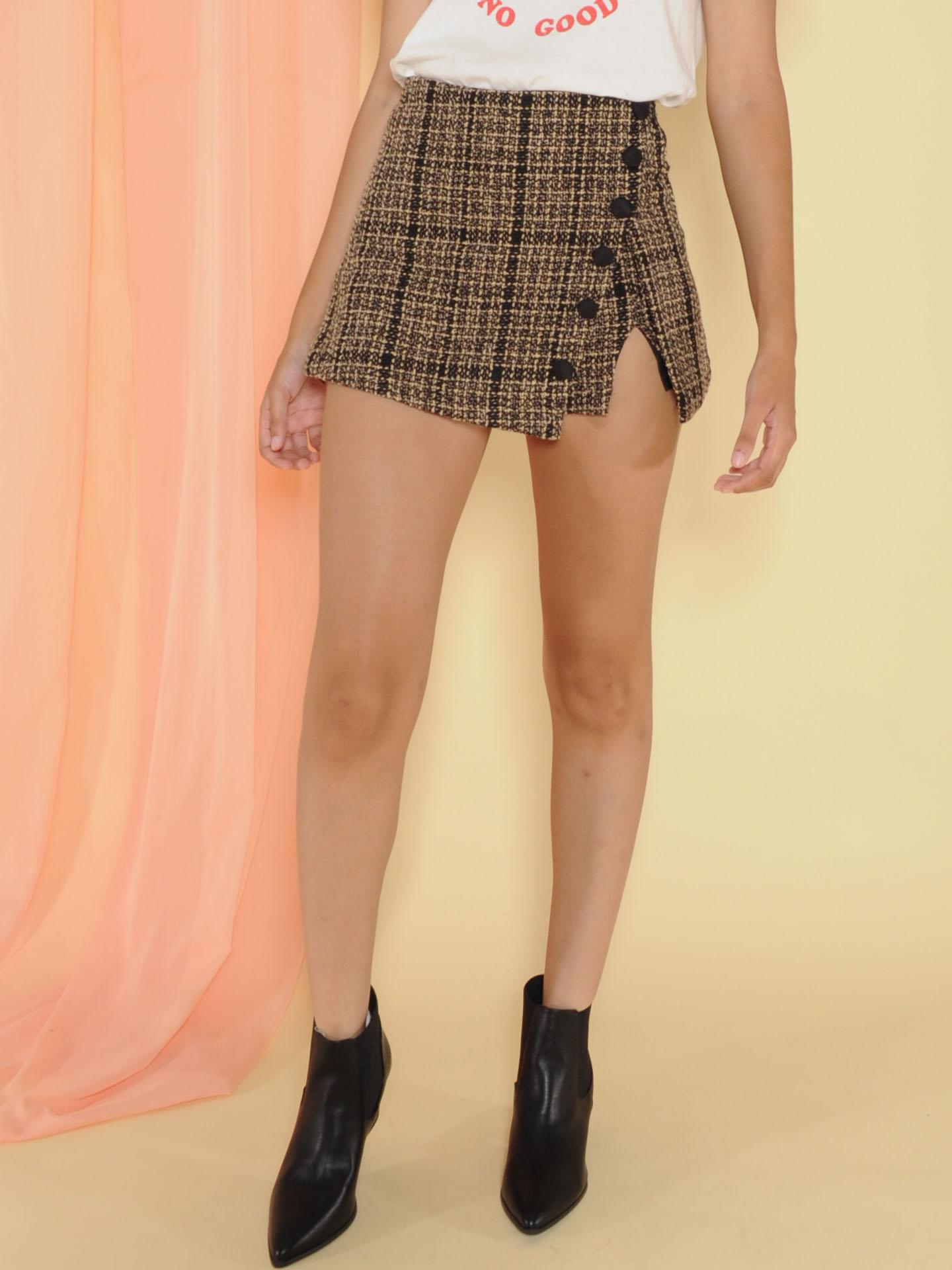 Pauline Skirt Plaid Mini Slit Leg Skort Front