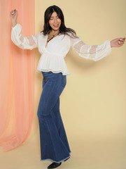 Priscilla Top Lace Arms Peplum V Neck Blouse Side